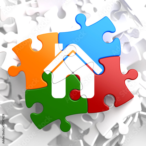 Home Icon on Multicolor Puzzle.