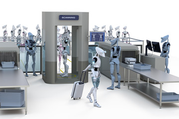 Robots going through security