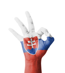 Hand making Ok sign, Slovakia flag painted