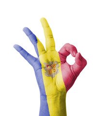 Hand making Ok sign, Andorra flag painted
