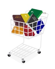 Colorful Holy Bibles in A Shopping Cart