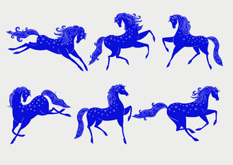 Collection of blue horses