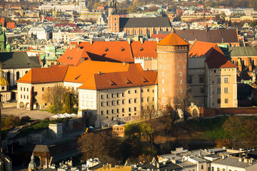 Aerial view of Royal Wawel castle in Krakow, Poland.