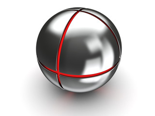 steel ball with red core