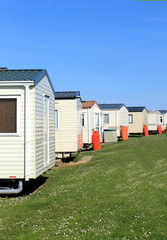 Row of caravans in trailer park