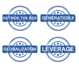 Set of business strategy stamps