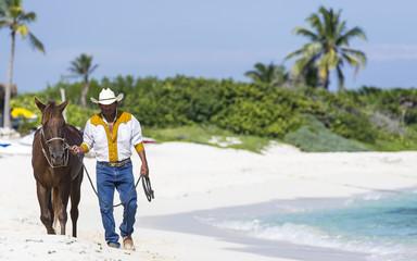 Cowboy On A Beach