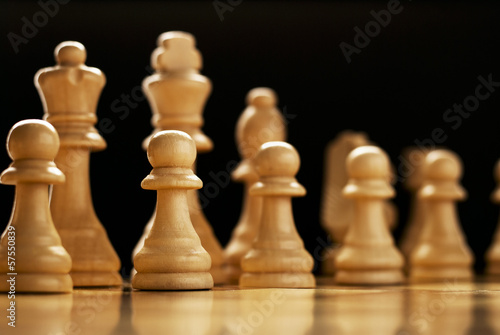 Chess pieces lined up on a chess board © sergign
