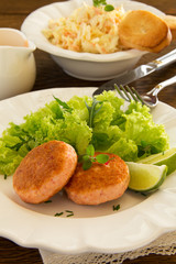 Fish cakes of shrimp and crabs. Selective focus.