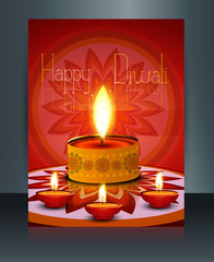 Diwali with beautiful lamps on artistic brochure template