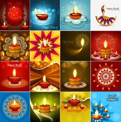 Vector beautiful diwali diya celebration 16 collection card vect