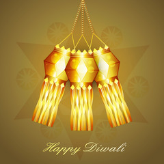 Diwali hanging lamp festival celebration colorful vector design