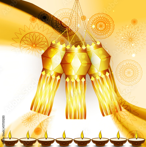 Beautiful diwali hanging lamp festival wave vector illustration