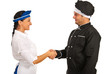 Chef man meeting waitress