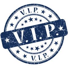 vip grunge round blue vintage stamp on white