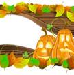Pumpkin heads on wooden  background