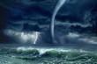 Leinwanddruck Bild - Tornado, lightning, sea
