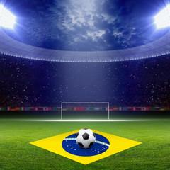 Soccer staduim, Brazil flag