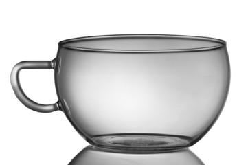 leere Teetasse mit weißem Hintergrund