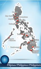 Inselkarte von Philippinen Abstrakter Hintergrund in Blau