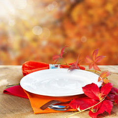 Empty Plate with Fall Background