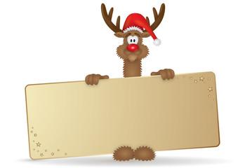 Lustiges Weihnachts-Rentier hält ein leeres Goldschild