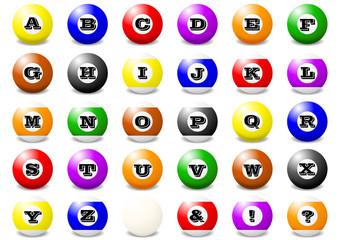 ビリヤードの球 アルファベット・大文字