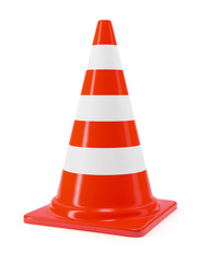Traffic cone sign on white background
