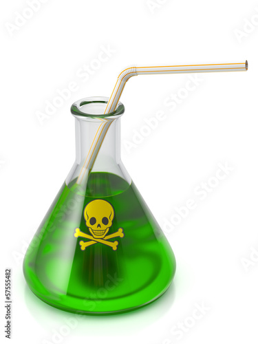 Poison drink. Flask of green liquid with straw. Sign with skull