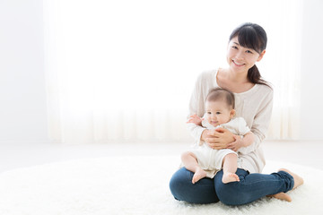 young asian mother and baby