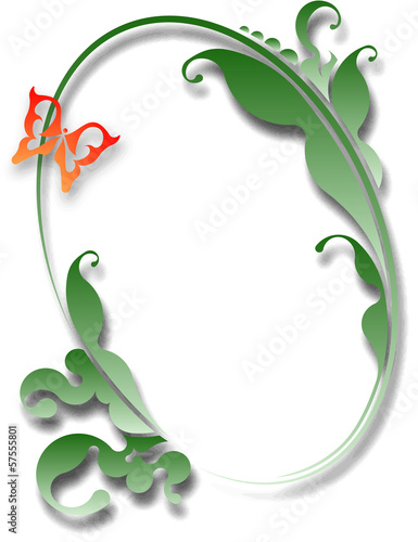 Decorative oval frame with butterfly for your design.