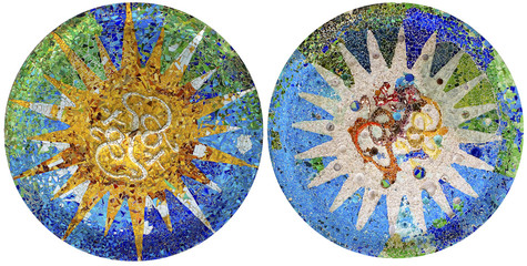Two detail of mosaic in Guell park in Barcelona
