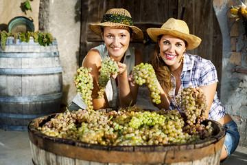 women showing grapes