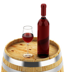 Wine bottle on a wooden barrel isolated