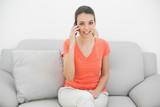 Amused ponytailed woman phoning looking at camera poster