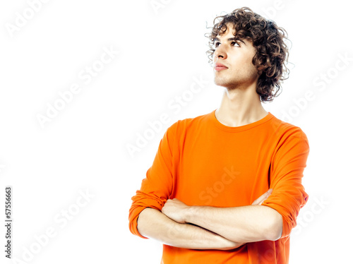 young man looking up portrait