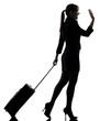 business woman  traveling saluting   silhouette