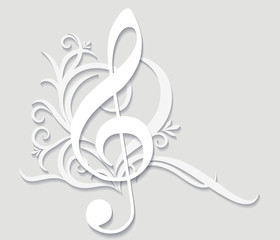 Abstract musical background with treble clef in cut of paper sty © Anton Shpak