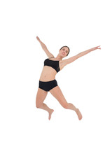 Sporty woman dancing isolated on white background
