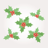 Set of five Christmas decorative elements with holly