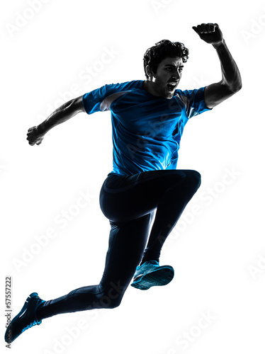 man runner sprinter jogger shouting silhouette