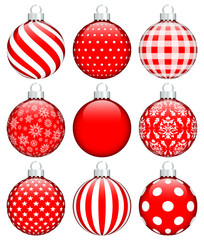 Collection 9 Christmas Balls Red/White