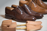 Brown men's shoes and shoe stratchers