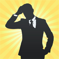 Silhouette of business man thinking isolated.