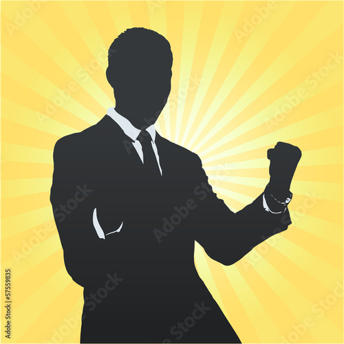 silhouette bsiness04Silhouette of business man winner.