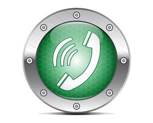 Techno green button call in progress