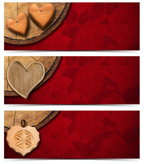Banners with Wooden Hearts
