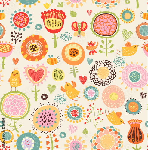 Floral background with birds seamless pattern