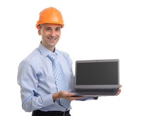 Young engineer with a laptop