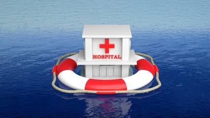 Hospital on life belt in open sea